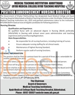 Ayub Medical College 2016 Jobs in Abbottabad