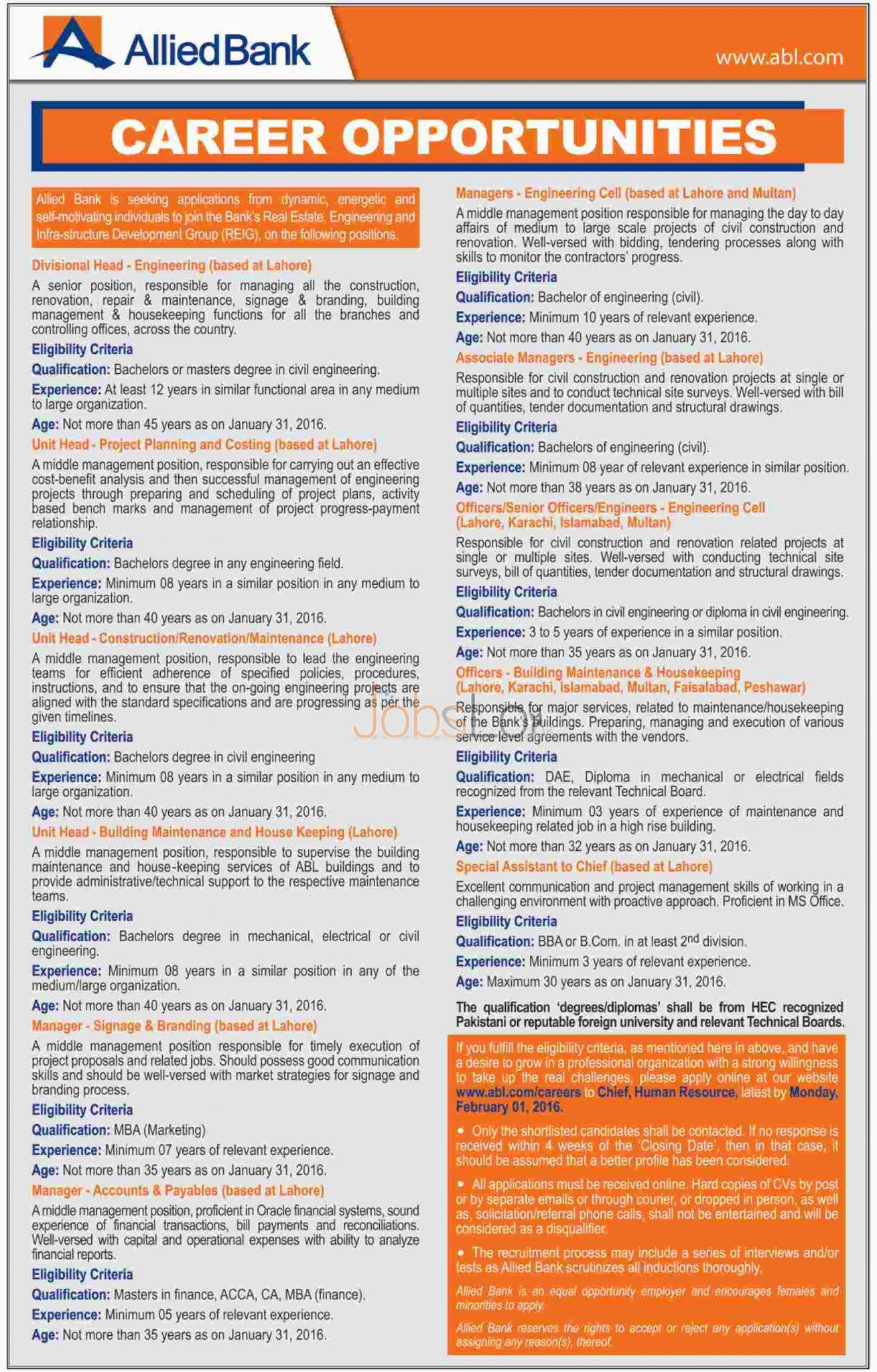 Allied Bank Limited Jobs 2016 in Karachi, Lahore, Peshawar