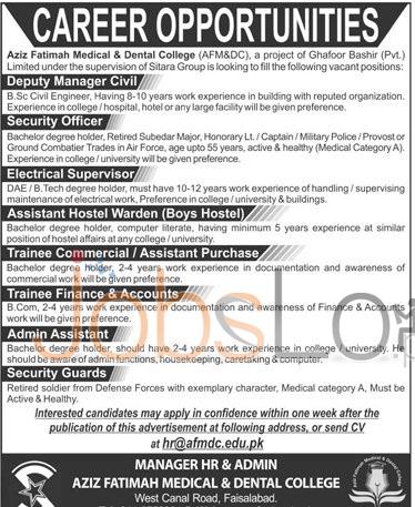 AzizFatima Medical and Dental College Faisalabad Jobs 2016