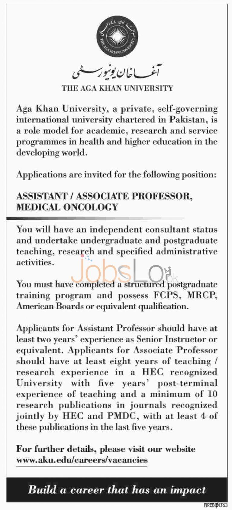 Agha Khan University Jobs in Karachi 2016 for Assistant & Associate Professor