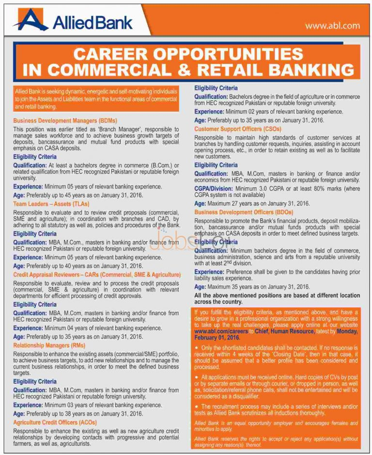 Allied Bank Limited Jobs in Commercial &Retail Banking Latest Advertisement 2016