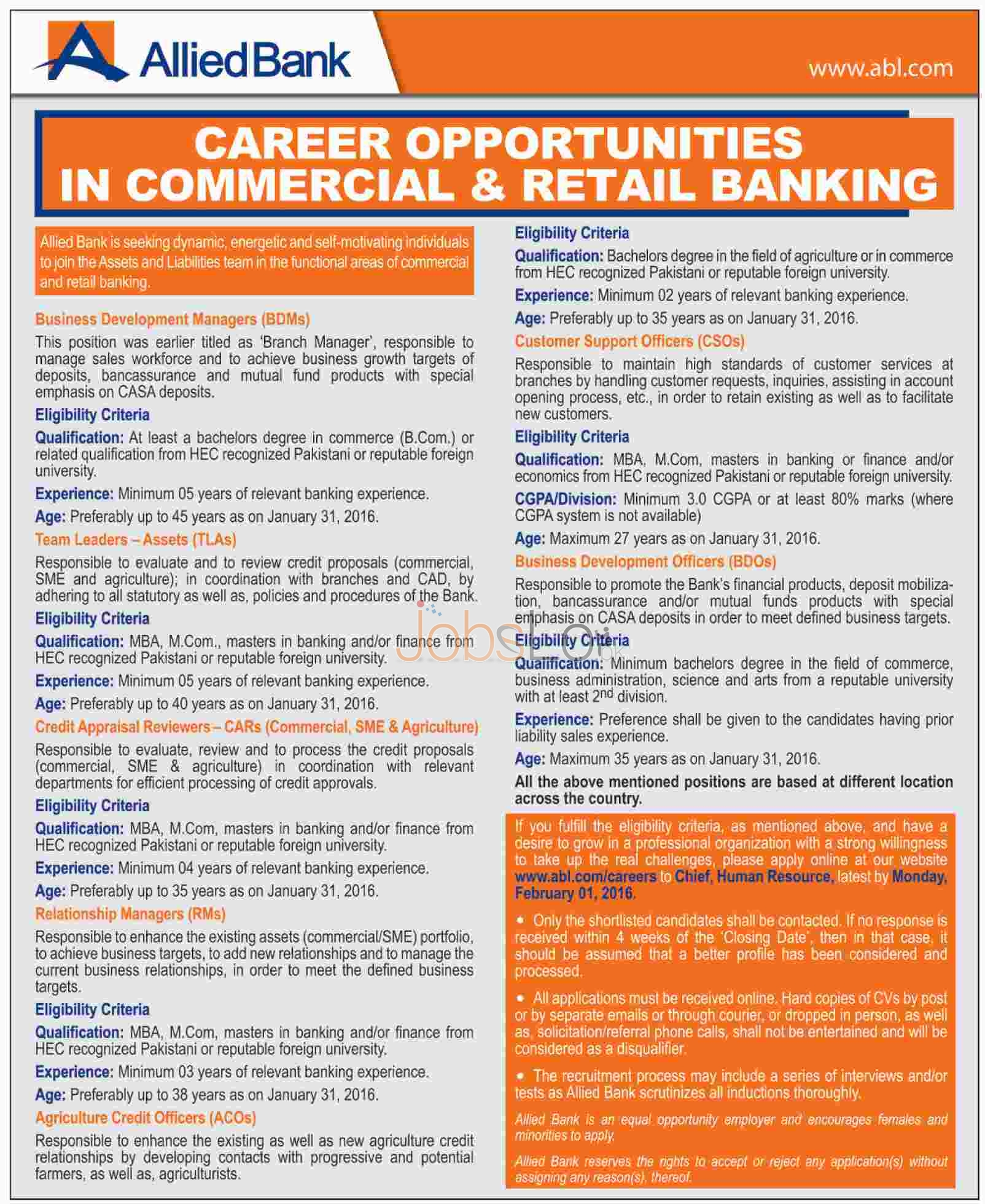 Allied Bank Limited Jobs in Commercial &Retail Banking 2016