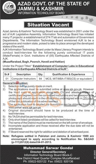Job Vacancies in Azad  Jammu &Kashmir Information Technology 23rd Jan 2016