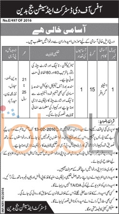 District and Session Court Job Offers in Badin 28th Jan 2016