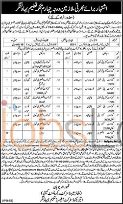 Education Department Jobs in District Bahawalnagar 2016 for Naib Qasid