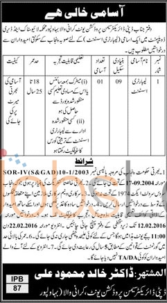 Livestock and Dairy Department Vacancies in Bahawalpur 30 Jan 2016