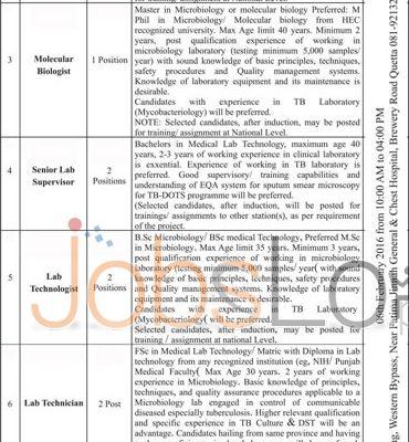 Health Deaprtment of Balochistan Jobs 21st January 2016