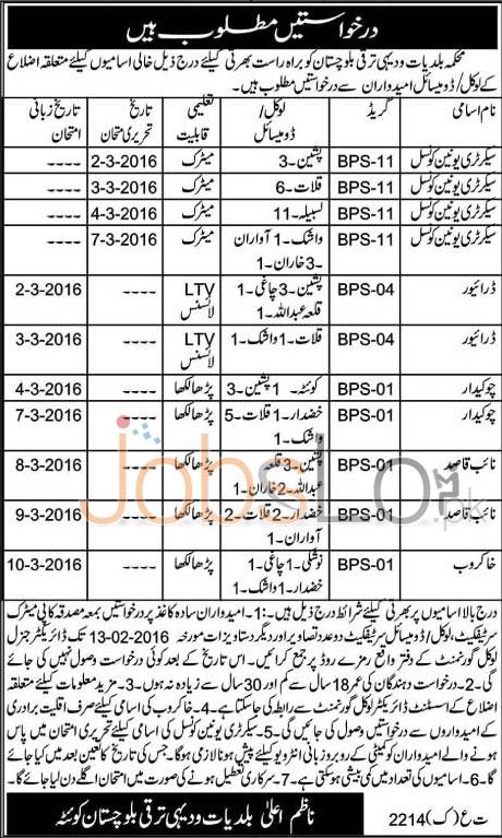 Local Government & Rural Development Jobs in Balochistan 28th Jan 2016