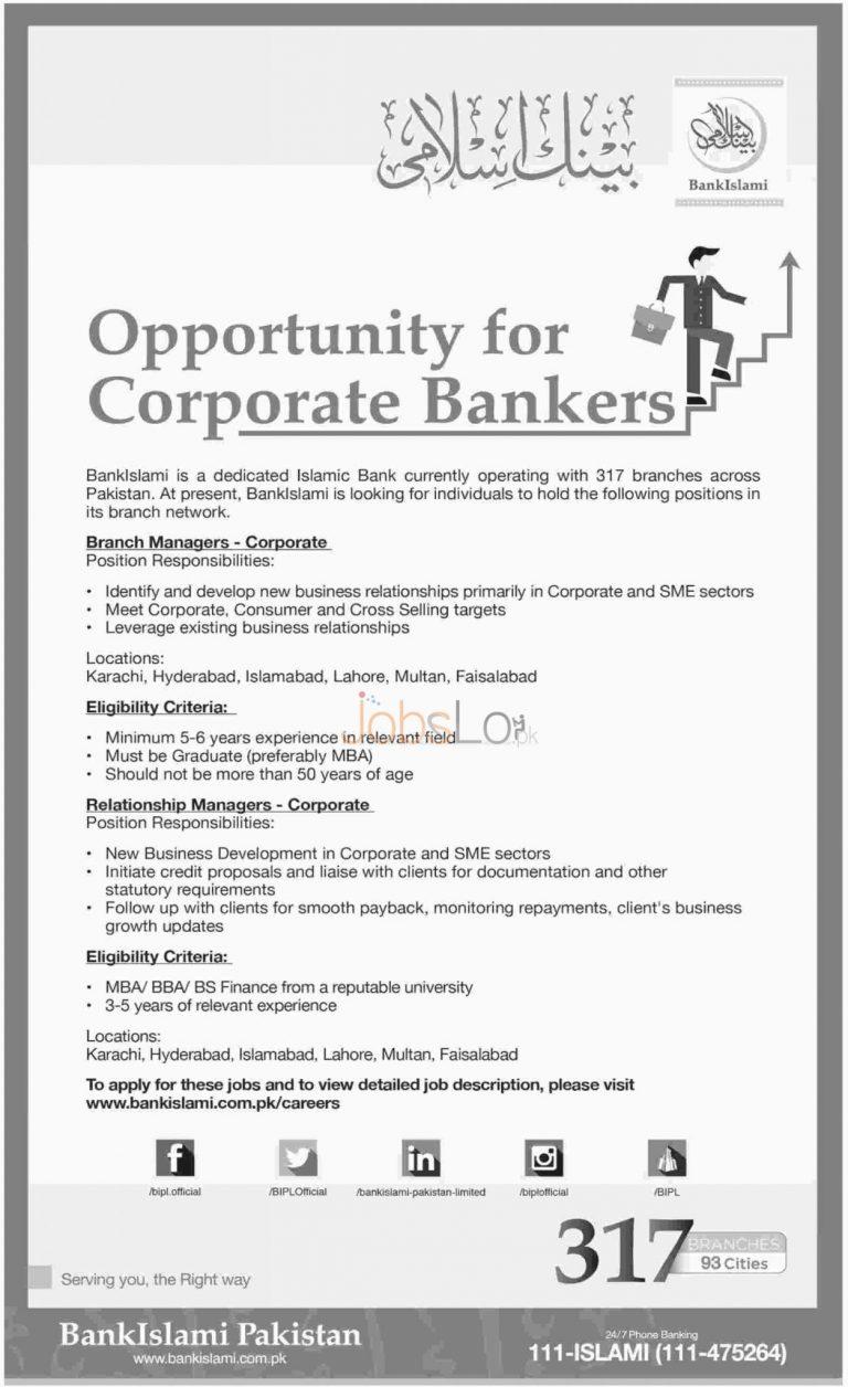 Bank Islami Jobs 2016 for Corporate Bankers in Karachi, Hyderabad, Islamabad