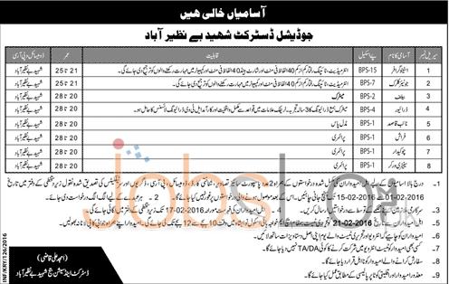 Judicial District Jobs in Shaheed Benazirabad 2016 For Stenographer & Jr.Clerk