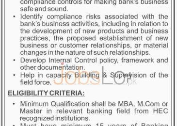Bank of Khyber Jobs 2016 in Peshawar for Deputy Head Compliance