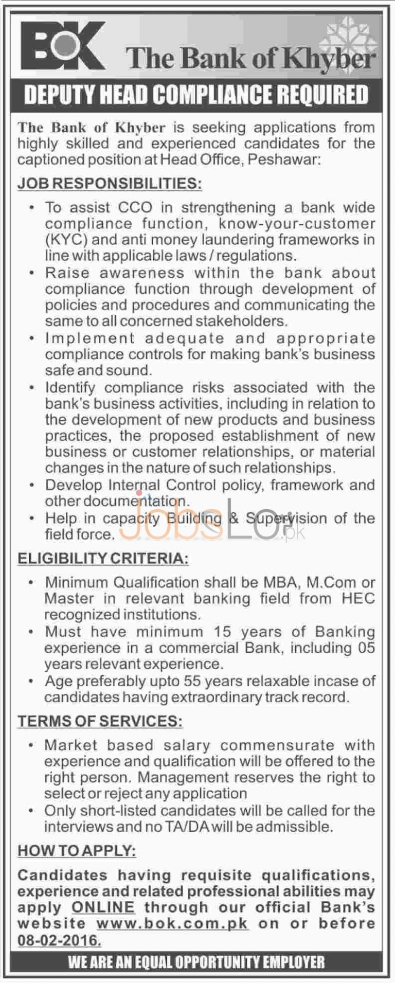 Bank of Khyber Jobs 2016 in Peshawar for Deputy Head Compliance