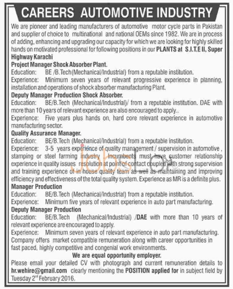 Careers Automotive Industry Jobs in Karachi 2016 Project Manager Latest Advertisement