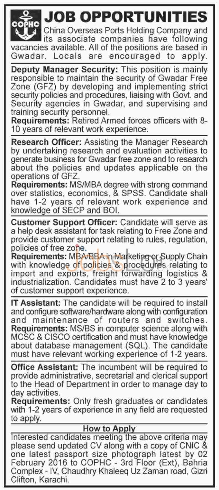 China Overseas Ports Holding Company Jobs 2016 in Gawadar Latest Advertisement
