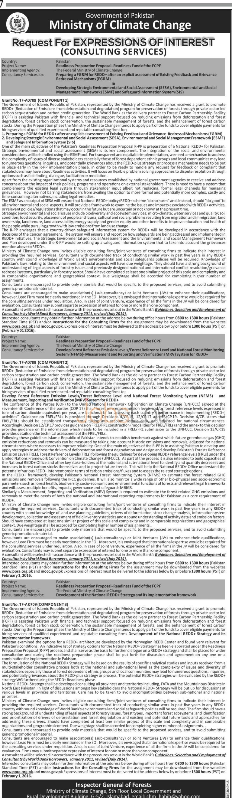 Ministry of Climate Change Jobs 2016 for Consultant Services Latest Advertisement