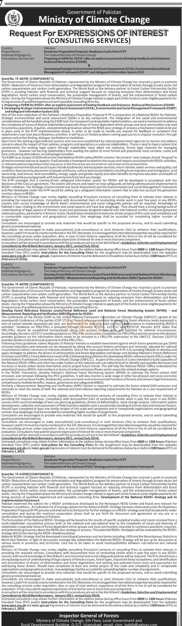 Ministry of Climate Change for Consultant Serivices 2016 Latest Advertisement