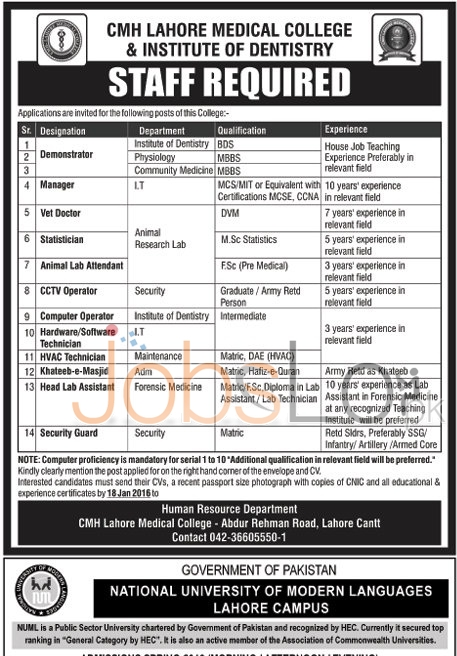 CMH Lahore Medical College and Institute of Dentistry Jobs 2016