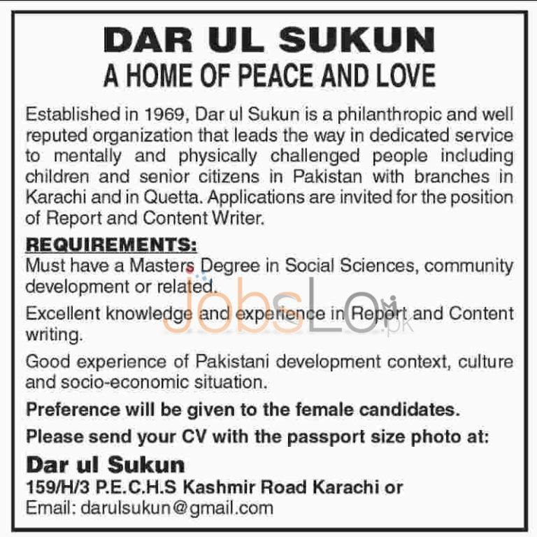 Dar-ul- Sakun Jobs in Karachi 2016 for Content Writers and Reporters Latest Advertisement