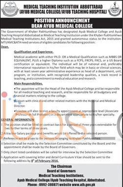Ayub Medical College Jobs for Dean 2016 in Abbottabad