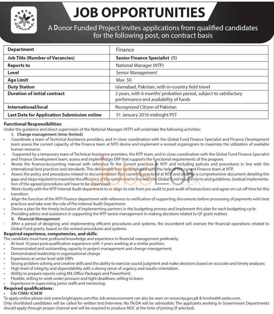 Finance Department Donor Funded Project 2016 Jobs in Islamabad