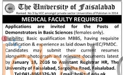 Recruit Offer of Demonstrator in The The Faisalabad University 2016