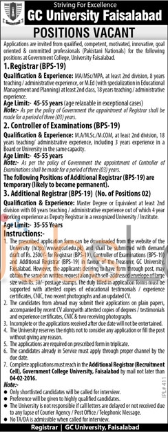 Recruitment Opportunities in GC University Faisalabad 13th January 2016