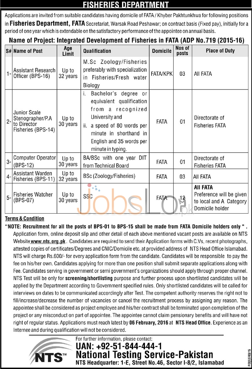 Fisheries Department Jobs in FATA 2016 For Assistant Research