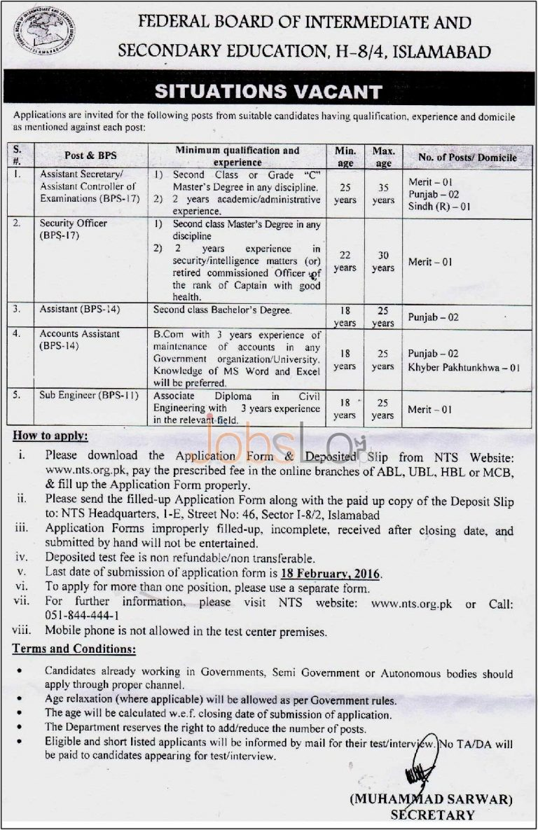 FBISE Jobs in Sindh, Punjab, Khyber Pakhtunkhawa 30th January 2016 Latest Advertisement