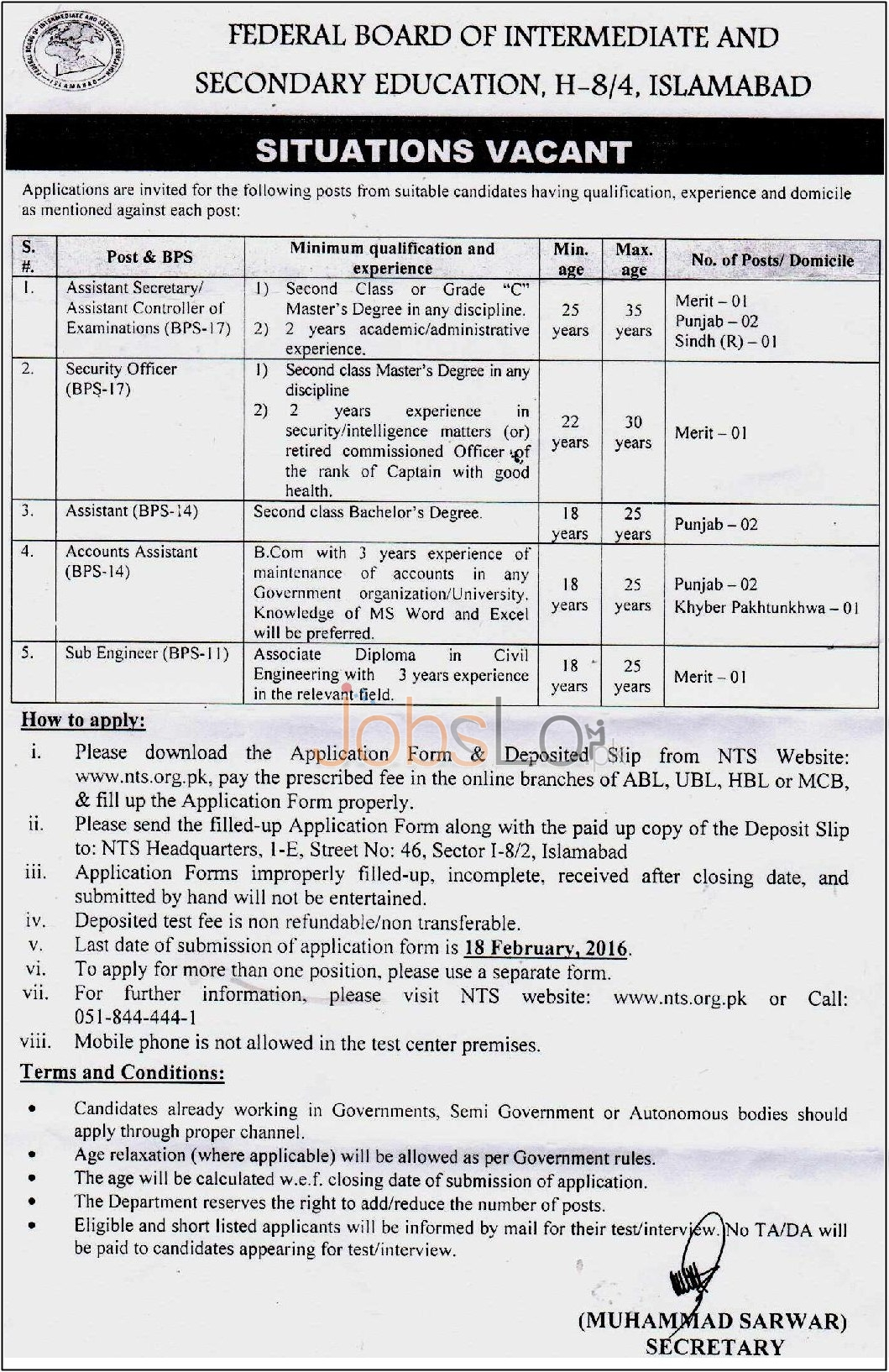 Employment Opportunities in FBISE Sindh, KPK, Punjab 30 Jan 2016
