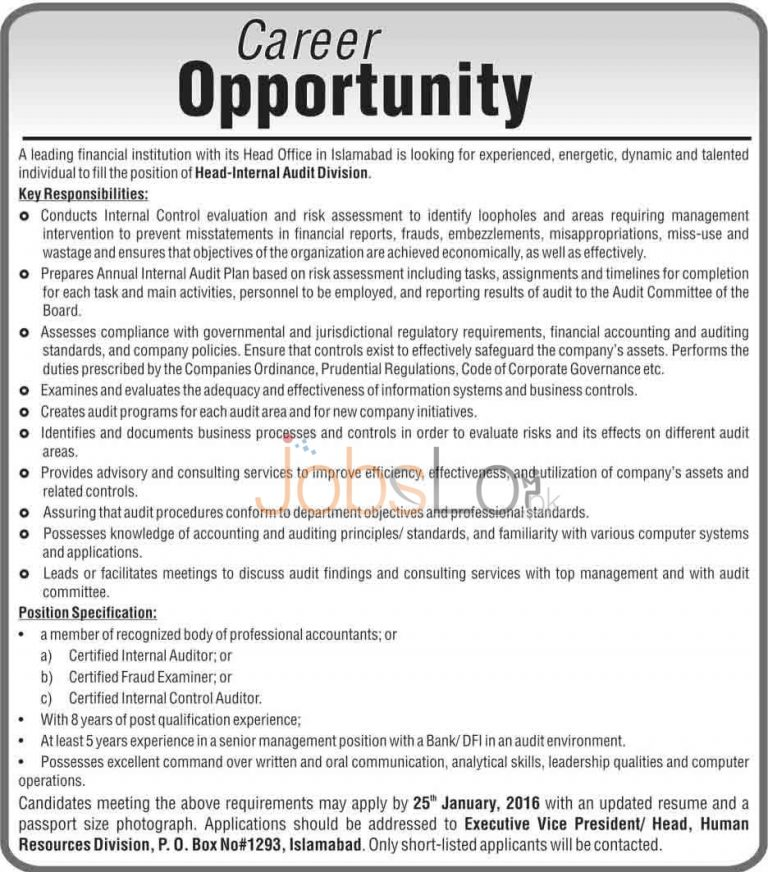 Financial Institution Jobs in Islamabad for Head Internal Audit Division 2016