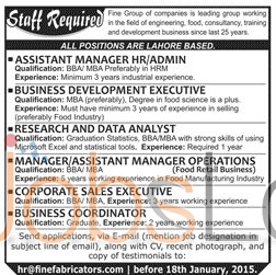 Recruitment Offers in Fine Group of Companies Lahore 2016