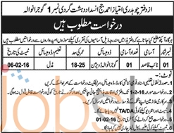 Anti-Terrorism Jobs in Gujranwala 2016 for Naib Qasid Latest Advertisement