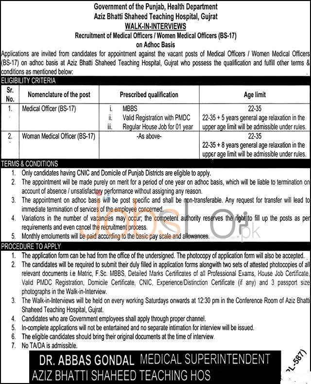Gujrat Aziz Bhatti Shaheed Hospital Jobs 2016