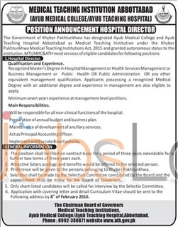 Hospital Director Jobs in Ayub Medical College 2016