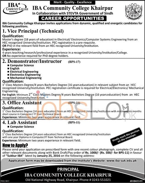 Recruitment Offer IBA Community College, Khairpur 2016