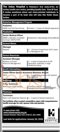 The Indus Hospital Jobs for  Assistant Manager, Manager and Technician 2016