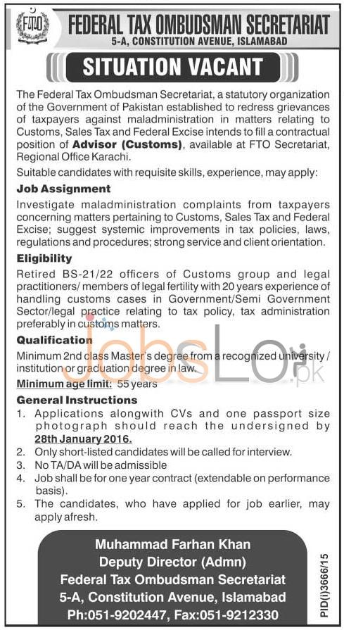 Federal Tax Ombudsman Secretariat Jobs in Karachi for Advisor (Custom)