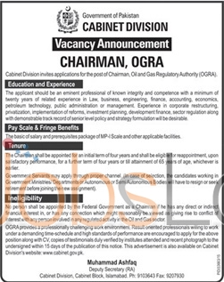 Recruitment Offers in Cabinet Division 2016 in Islamabad for Chirman OGRA