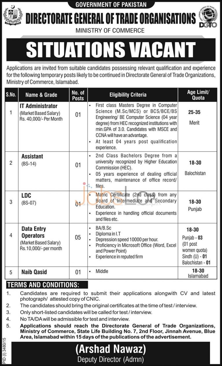 Directorate General of Trade Organization Ministry of Commerce Jobs 2016