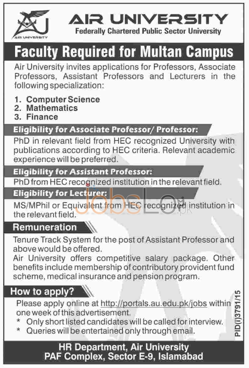 Air University Jobs in Multan Campus Fcaulty Required