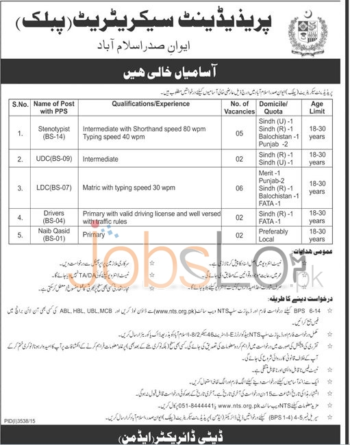 Recruitment Offers in President Secretariat Public,Islamabad 2016
