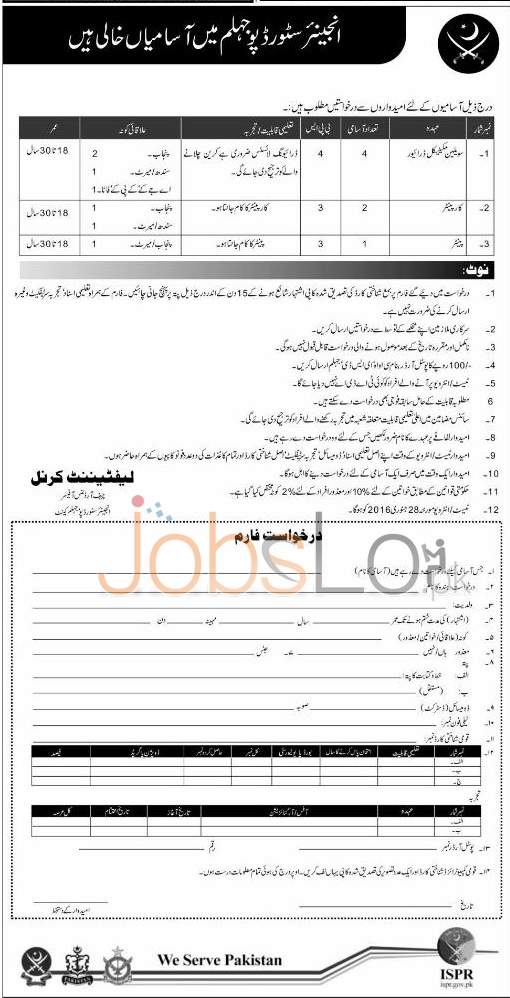 Recruitment Offers in Jhelum Engineer Store Dipo 2016