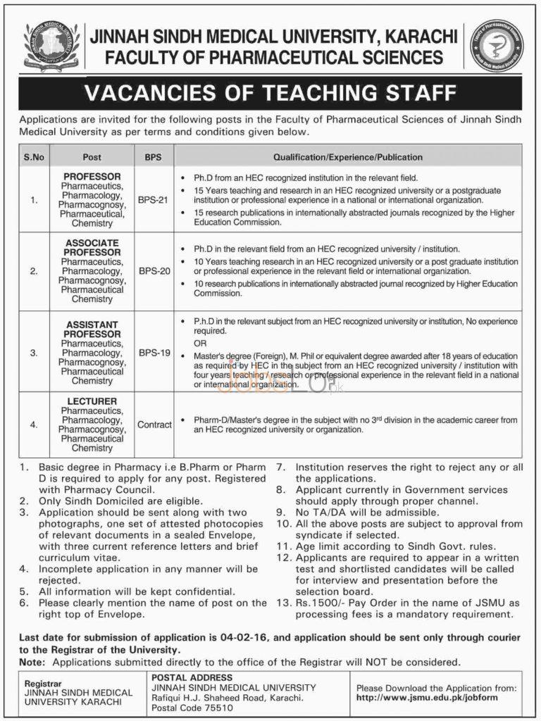 Jinnah Sindh Medical University Jobs in Karachi 2016 for Pharmaceutical Faculty