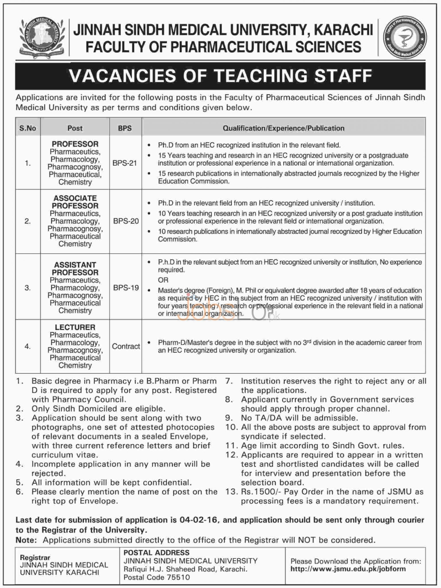 Jobs in Jinnah Sindh Medical University 2016 Karachi