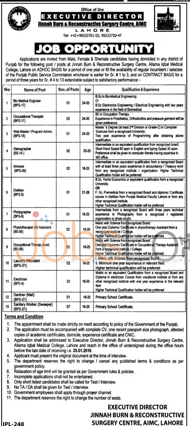 Recruitment Offers in  Jinnah Burn and Reconstructive Surgery Center and AIMC 2016
