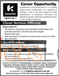 Job Announcement in Kansai Paint Corporation 2016