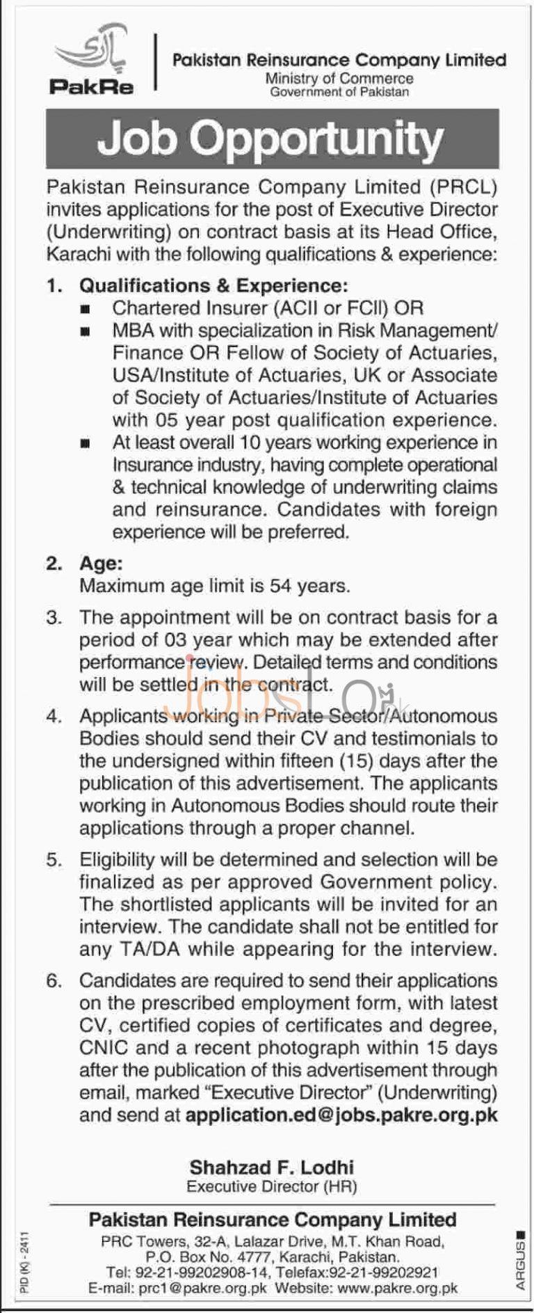 Pakistan Reinsurance Company Limited Job for Executive Director 13th January 2016