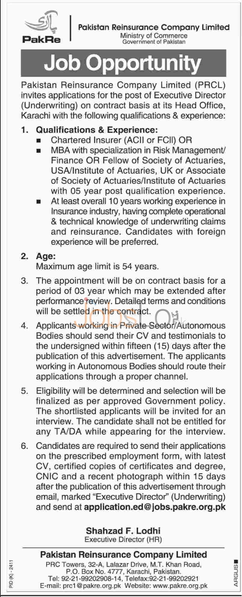 Job Vaccancy in Pakistan Reinsurance Company Limited for Executive Director 2016