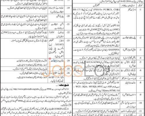 Provincial Head Office 2016 Recruitment Offers in Karachi