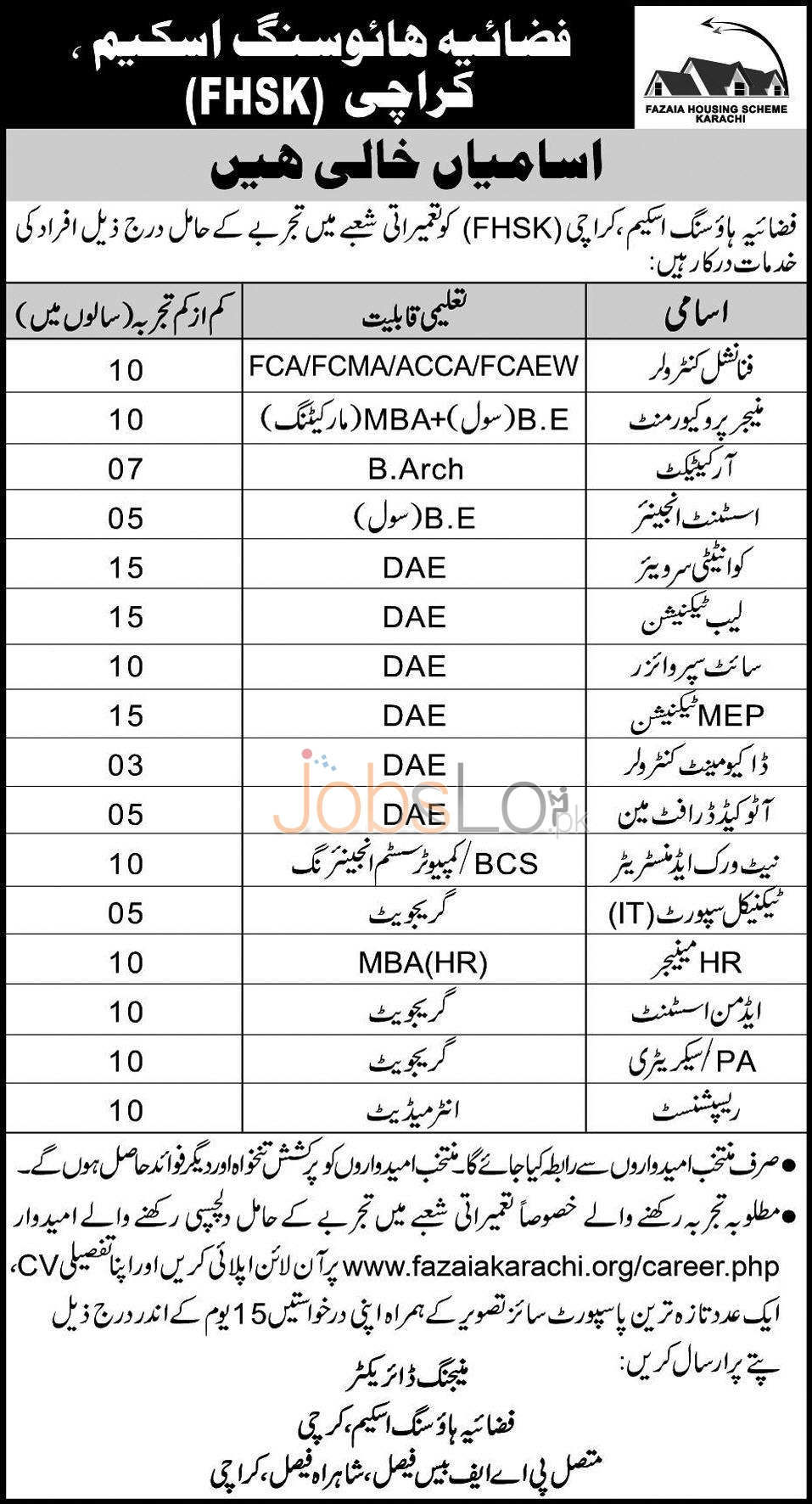 Fazaia Housing Scheme Karachi Jobs 2016